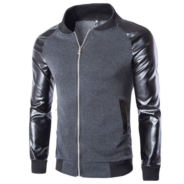 2017 New Arrival Fashion Men's PU Leather Mandarin Collar Sleeves Patchwork Baseball Jacket Coat Layered Leather Jacket 13M0444