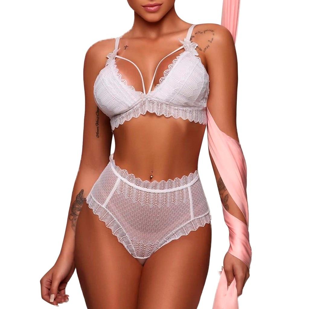 Women Bra Set Brassiere Femme Sexy Women White Lace Bowknot Lingerie Bra Bandage Set Dessous Bodysuit Sleepwear S-2XL