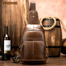 Leather satchel retro single-shoulder chest satchel headphone jack cross-body bag for men недорого