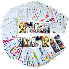 100 Mixed Qt Nail Flowers sheets Cartoon Stickers