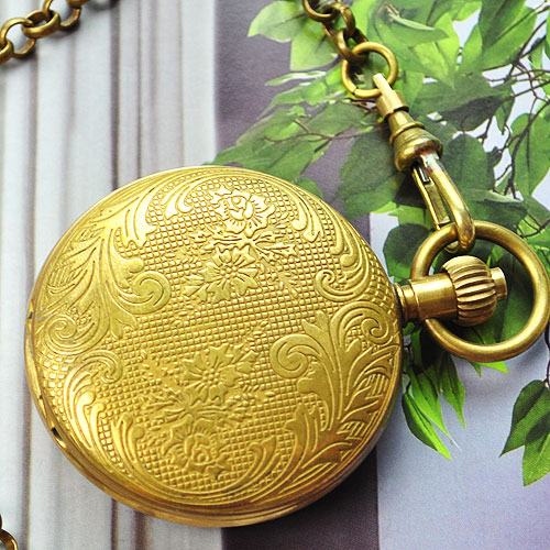 Wholesale Classic Design 100% Brass Cover Mechanical Pocket Watch Freeship