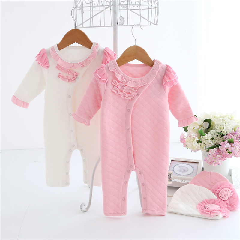 Baby Rompers Set High Quality Long Sleeve Bebe Jumpsuit Winter Thicken Cotton Princess Dress Newborn Baby Girl Clothes 0-12M warm thicken baby rompers winter long sleeve organic cotton autumn
