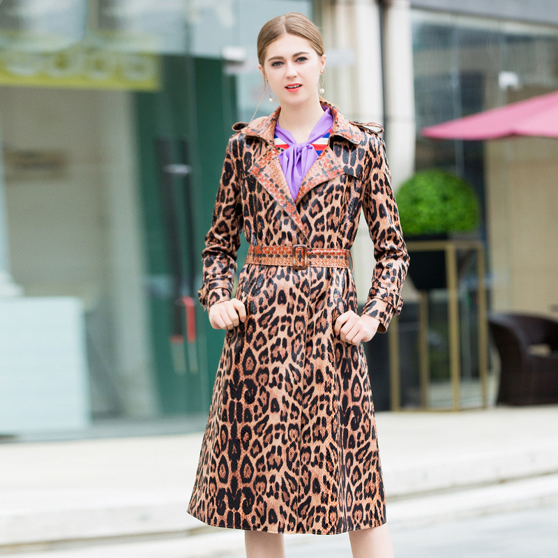 2019 Winter Leopard Print   Trench   Long Coat High Quality Pretty Full Sleeve Turn-down Collar Female Long   Trench   With Belts Female
