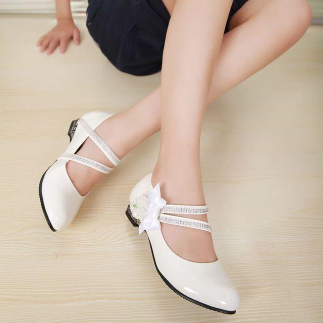 princesa arco rhinestone niños zapatos blanco negro zapatos de cuero