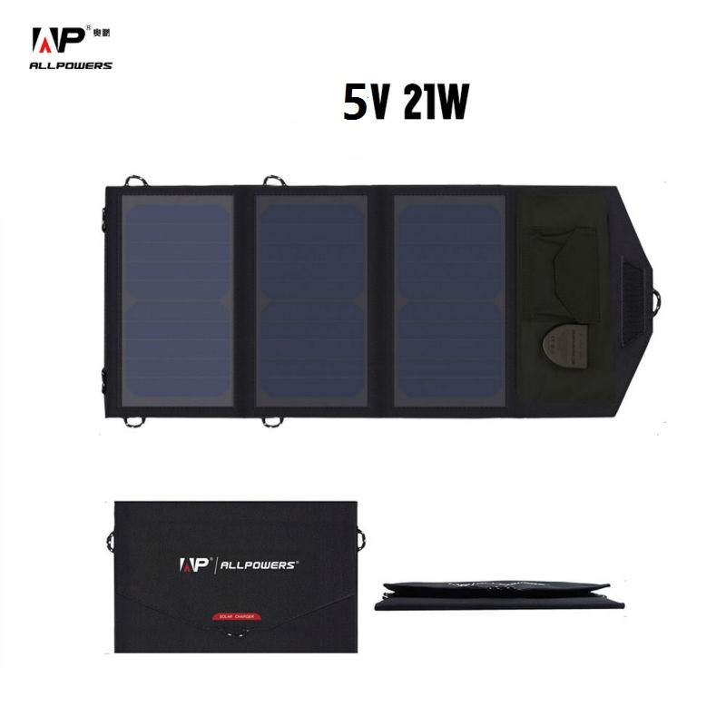 ALLPOWERS Outdoor Portable 5V 21W Foldable Waterproof Camping Solar Panel Charger USB Mobile Power Bank for Phone Battery usb3 0 round type panel mounting usb connecter silver surface