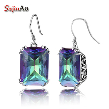 цены Szjinao 100% HandMade Bohemian Wedding Style Earrings Mystic Rainbow Topaz Vintage Earring For Women 925 Sterling Silver Jewelry