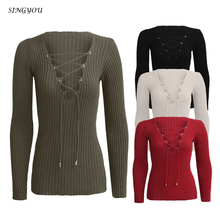 singyou New winter deep v belt knit sweater coat female Sexy Tiefem V-ausschnitt Strappy Tops Pullover