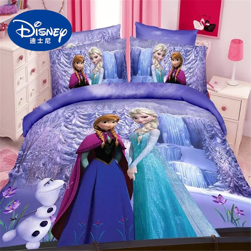 . US  9 69  Disney Frozen print bed sheet set twin single size Alsa Anna  princess duvet cover girls kids bedroom decor bedlinen pillowcase in  Bedding