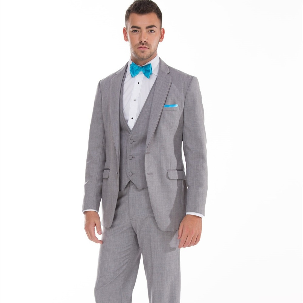 western wedding suits groom tuxedo summer wear 3 piece suit light gray high quality dress for the best man