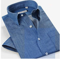New  2015 Summer Style Blusas Brief Casual Denim Shirt Men Short Sleeve 100% Cotton Soft water wash Shirts