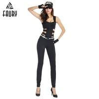 Women Halloween Cosplay Costume Adult American Special Police Swat Cosplay Moto & Biker Black Jumpsuits Girls Cool Cos Apparel