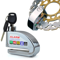 Silver Security Protect Motorbike Motorcycle Anti Thief Electric Bike Scooter Wheel Disc Brake Alarm Lock Zinc