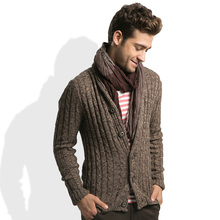 And the European and American wind man male coffee cotton knit cardigan sweater coat