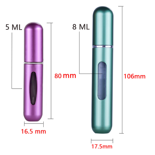 OSHIONER 5ml 8ml Refillable Mini Perfume Spray Bottle Aluminum Spray Atomizer Portable Travel Cosmetic Container Perfume Bottle