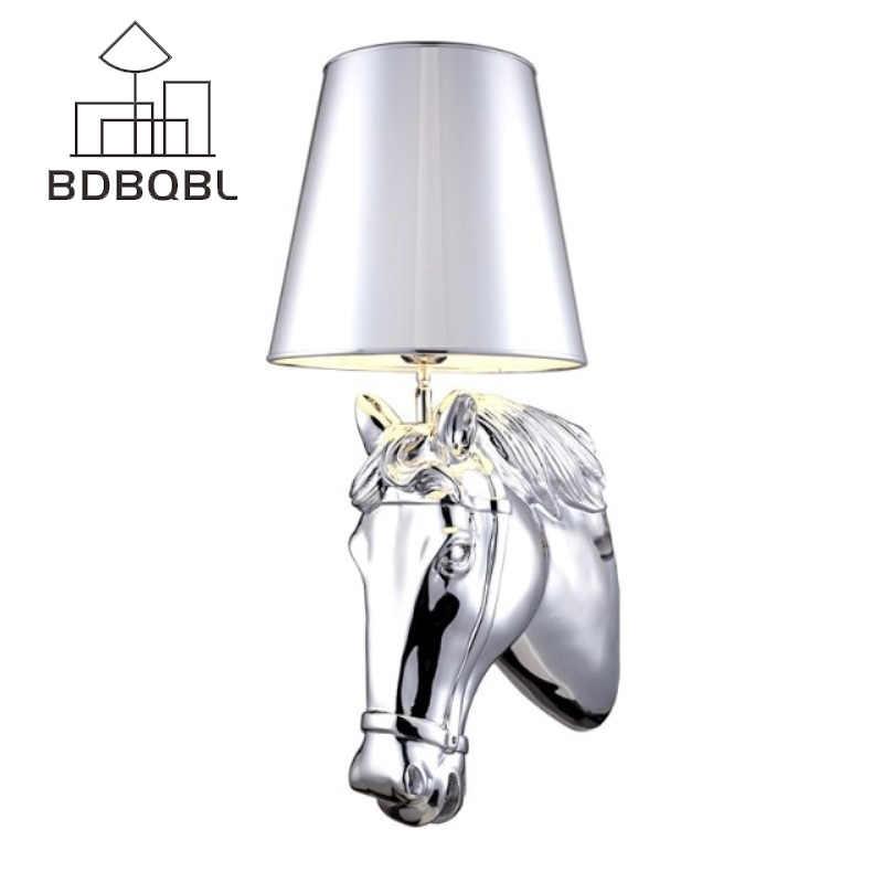 BDBQBL современный нордический стиль с головой лошади на стену лампы бра свет гостиная настенное освещение в стиле лофт светильники белый/черный/серебристый/золотой