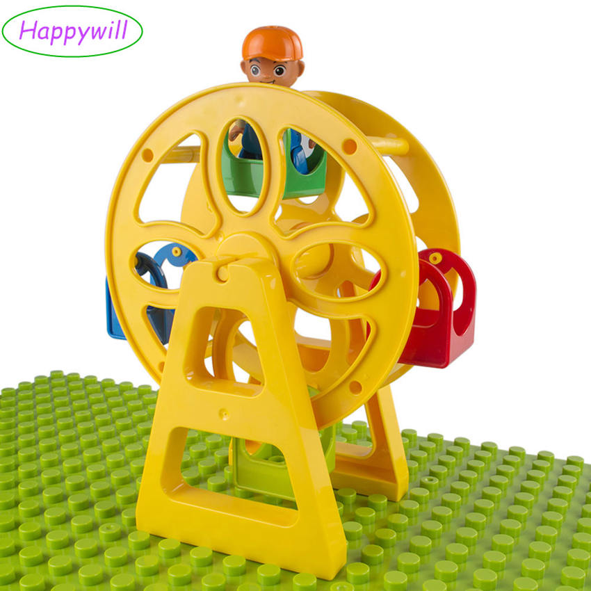 Happywill Baby Blocks Ferris Wheel DIY Educational Toys Building Blocks Compatible with Leg* duploe ferris wheel locomotive big building blocks pirate boat bus accessories assembly compatible with duplo kid baby diy toys bricks