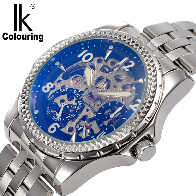 IK colouring Hollow Skeleton Automatic Mechanical Watches Men Brand Luxury Full Steel Military Watch relogios feminino ik colouring brand mechanical hand wind clock nail scale hollow back cover luminous hardlex full steel business men s watch