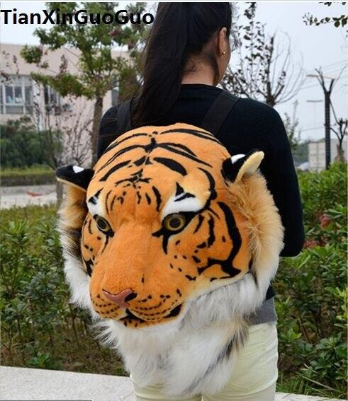Sac à dos en peluche tête de tigre jaune simulation, sac à dos de mode 60x40x30 cm, cadeau de noël w2504