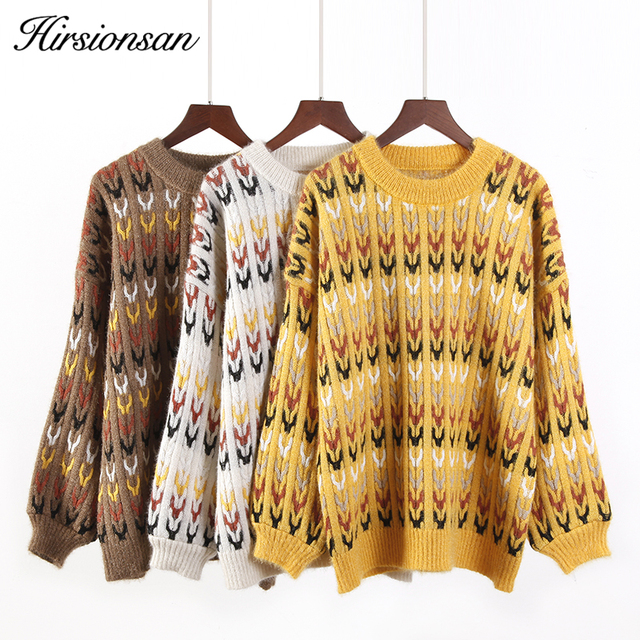 Hirsionsan Autumn Winter Sweater Knitted Thick Warm Women Pullover Casual  long sleeve 810fccfe0