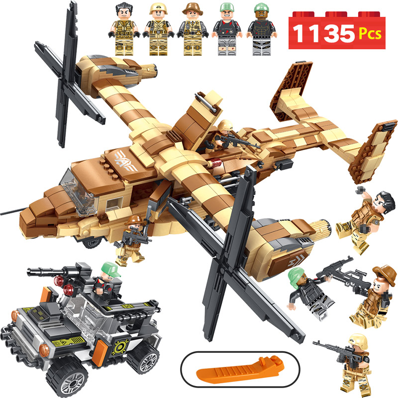 Military Series Building Blocks LegoINGLYS Technic Osprey Helicopter Modle Mini Action Figures Bricks Enlightening Toys