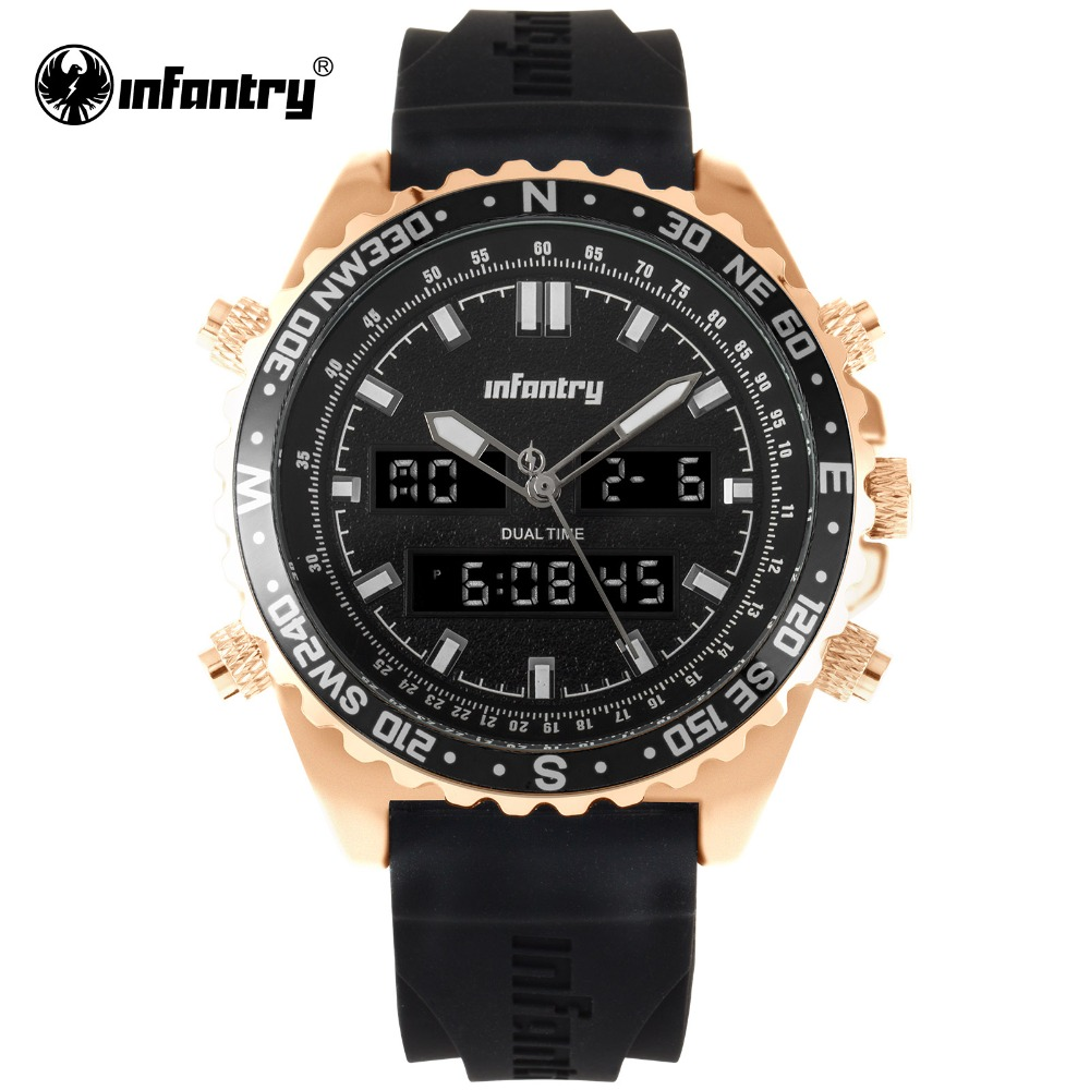 цена на INFANTRY Military Watch Men Digital Quartz Tactical Mens Watches Top Brand Luxury 2018 Rose Gold Black Army Relogio Masculino
