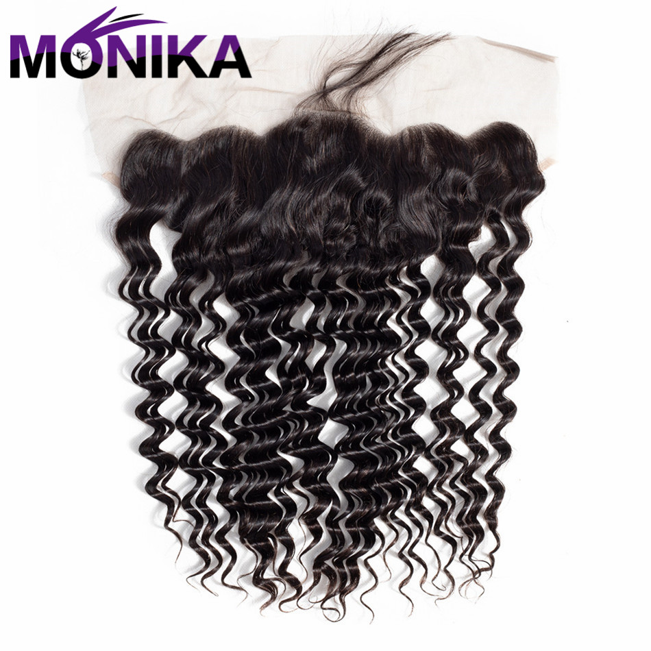 Monika Brazilian 13*4 Lace Frontal Deep Wave 100% Human Hair Closure 13x 4 Lace Front Non Remy