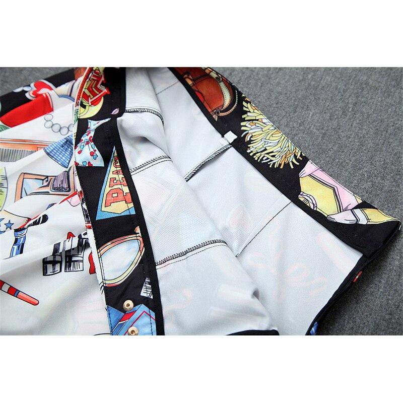Дизайнерский бренд Runway Женский комплект 2 шт., летний модный топ с короткими рукавами и милым принтом, кружевной лоскутный топ и шорты, комплект в комплекте - 5