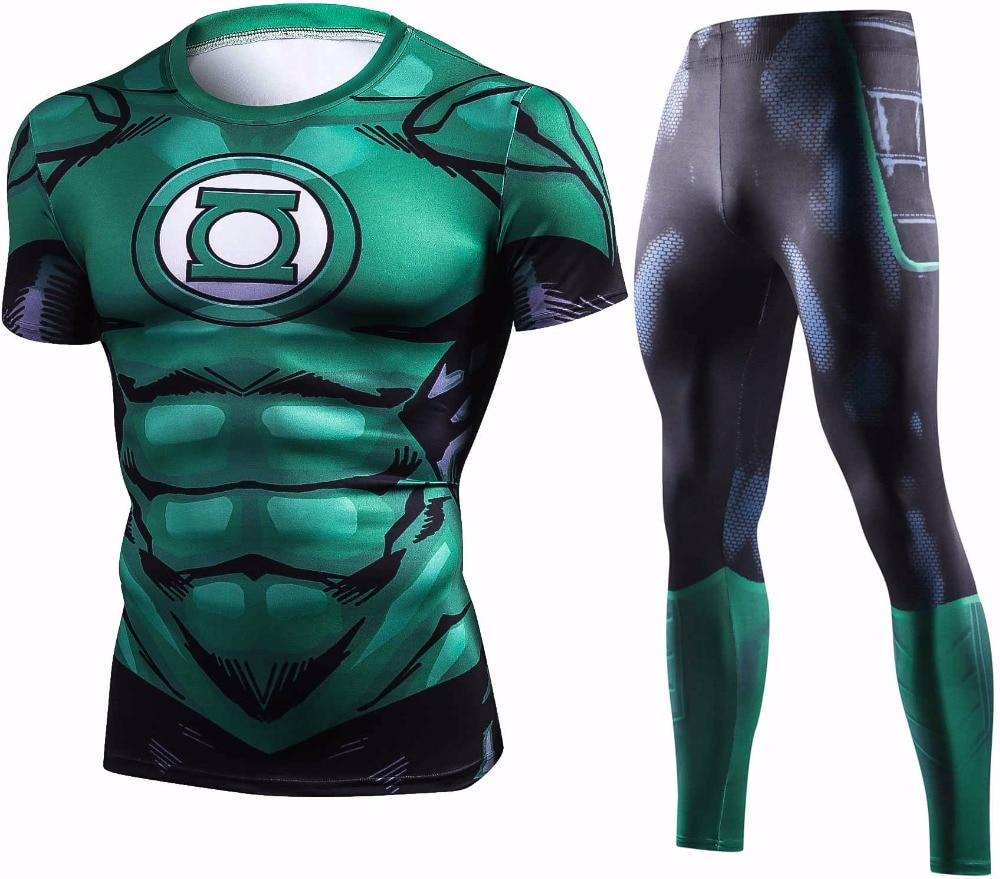 New Green Lantern Compression T Shirt Set Men Exercise Brand Tracksuit 3D Print Men Sets Summer Fitness Clothing Sportswear Sets