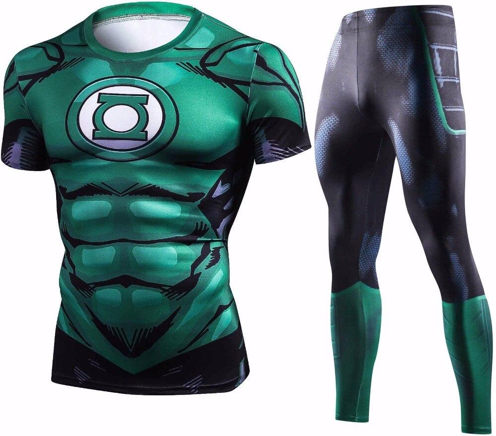 New Green Lantern Compression T Shirt Set Men Crossfit Brand Tracksuit 3D Print Men Sets Summer Fitness Clothing Sportswear Sets