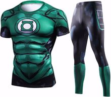 New Green Lantern Compression T Shirt Set Men Crossfit Brand Tracksuit 3D Print Men Sets Summer Fitness Clothing Sportswear Sets(China)