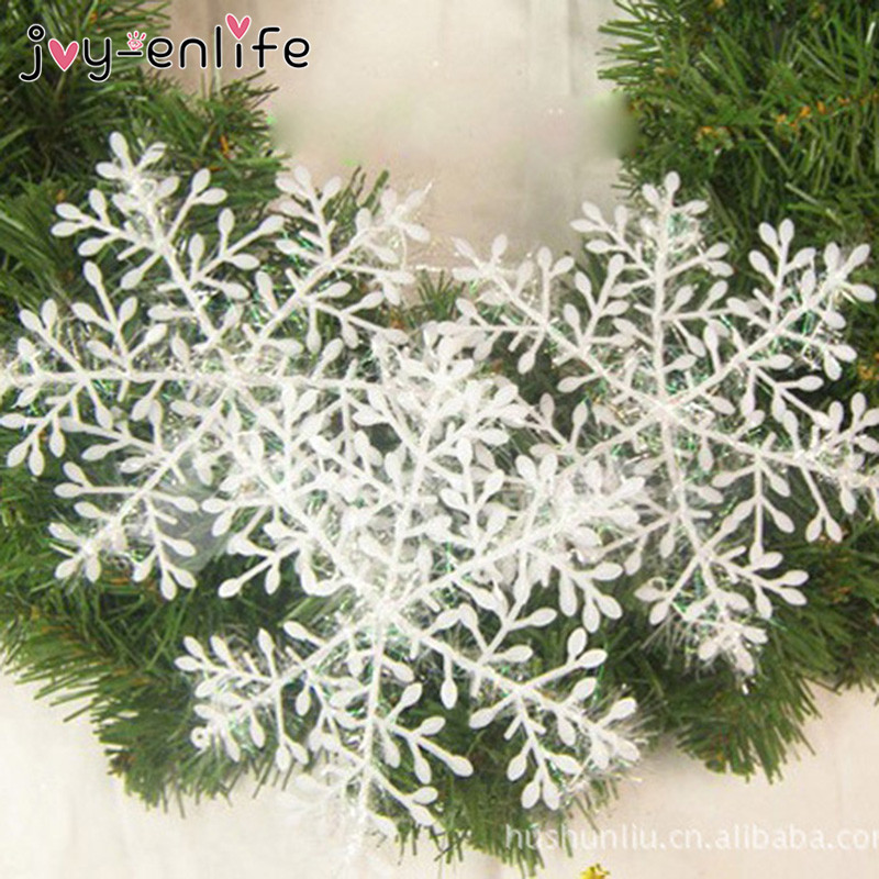 30/60/90pcs Christmas Snowflake Ornament Christmas Decoration For Home White Plastic Christmas Snowflake Tree Navidad Decoration
