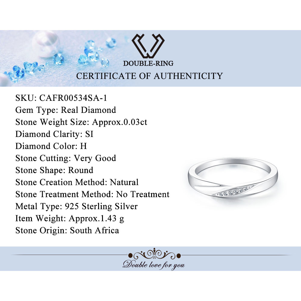 Doubler Natural Diamond Ring Women Real 925 Sterling Silver Round Engagement  Ring Men Romantic