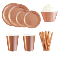 Gold Rose Gold Series Gilding Paper Straws Paper Plate Disposable Tableware Party Supplies Wedding Birthday Party Decorations