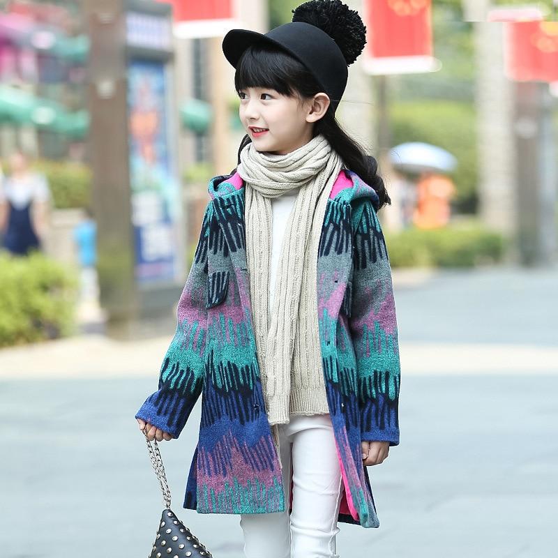 ФОТО Children's clothing winter 2017 new girls coat long winter child long wool coats Jackets Outwear 6-12 years