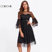 COLROVIE Dot Mesh Overlay Nero Party Dress Layered Manica A Campana donne Sexy Abiti Midi 2017 Sheer Elegante Una Linea di Autunno vestito