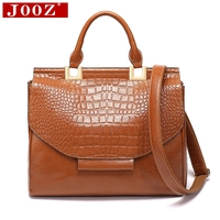 JOOZ New Women handbags Fit Business office Leather bags for women 2018 big Shoulder Messenger Bag crocodile purse bag