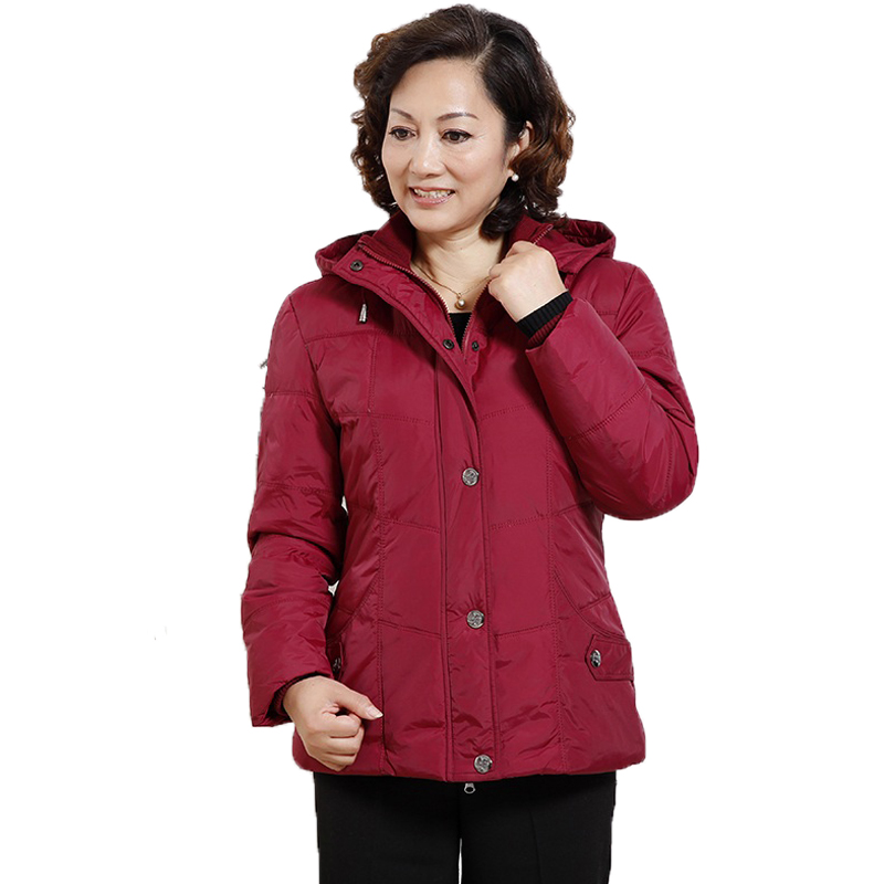 WAEOLSA Winter Woman Puffer Jackets Red Purple Short Parkas Middle Aged Womens Hooded Quilted Coats Mother