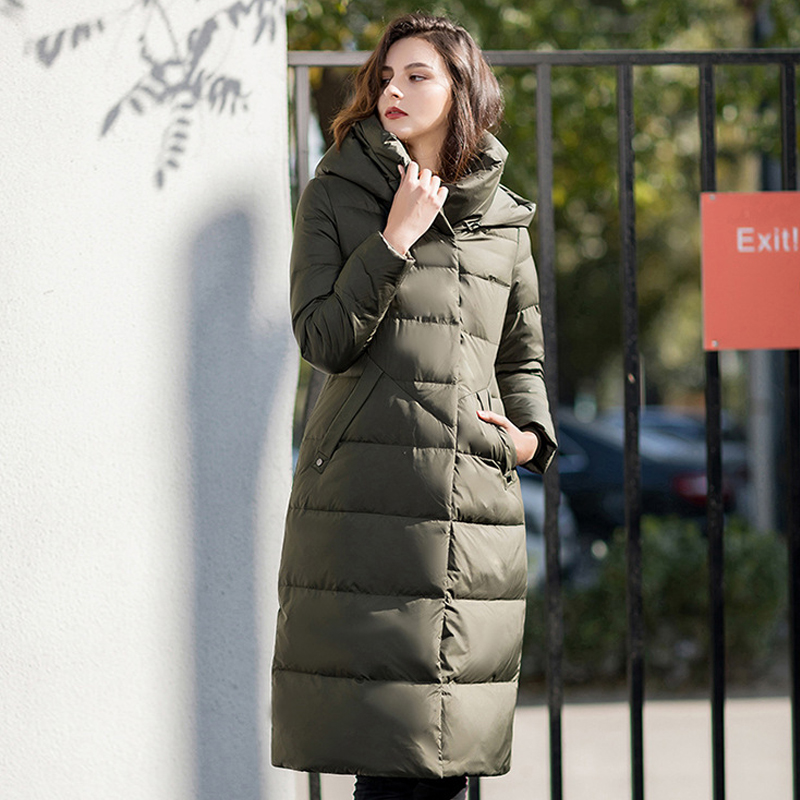 YNZZU Vintage New Winter Jacket Women Solid Long Style 90% White Duck   Down     Coat   Woman with Hooded Thicken Warm Outwears O780