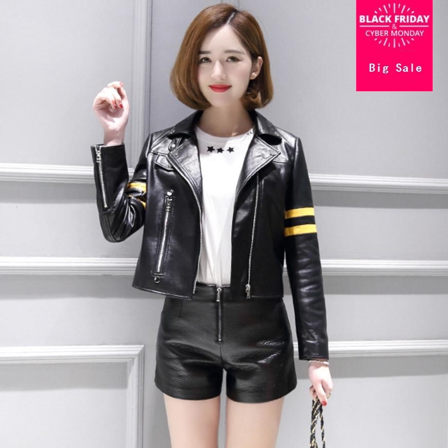 Factory direct sales 2019 fashion brand ladies striped stitchin   leather   jackets motorcycle street style PU   leather   jacket wj2334