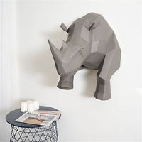 Nordic 3D Geometry Rhinoceros DIY Wall Hanging Paper Art Sculpture Home Living Room Office Ornaments Wall Decoration R735