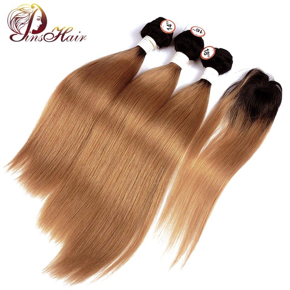 Ombre Bundles With Closure Dark Blonde 1B 30 Hair Peruvian Straight Human Hair Weave 3 Bundle With Closure Pinshair Nonremy Hair