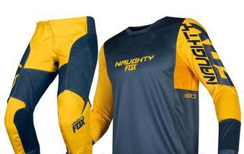 2019 NAUGHTY FOX MX 180 Prizm Navy Yellow Gear Set Motocross Dirt bike Off-Road Adult Racing Jersey Pants Combo