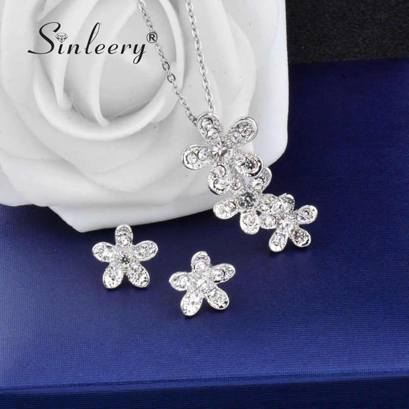 SINLEERY Luxus Silber Farbe Strass Blume Schmuck Sets Für Frauen Braut Hochzeit Halskette Ohrringe Set TZ207 SSH