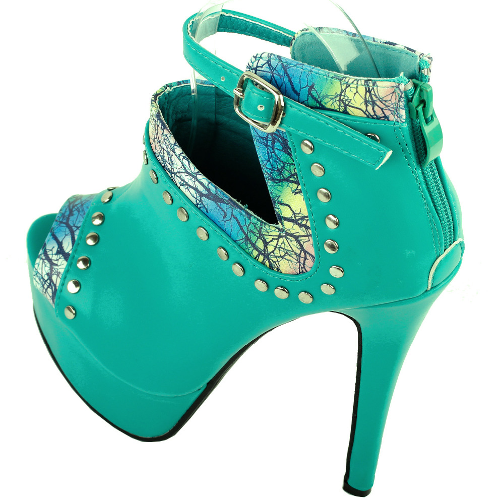 LF80106 Sexy Aqua Peep-toe Stud Platform Stiletto Heel Boot Sandals Size 4/5/6/7/8/9/10