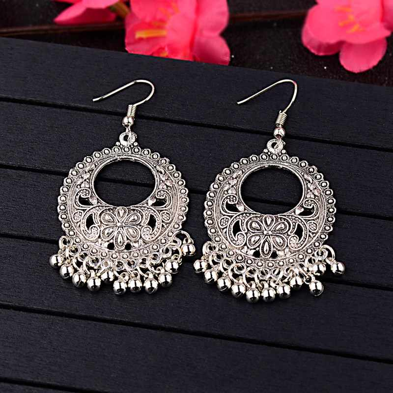 TopHanqi Hollow Flower Indian Jhumka Fringed Tassel Earrings For Women Gypsy Jewelry Sliver Color Antique Ethnic Drop Earrings