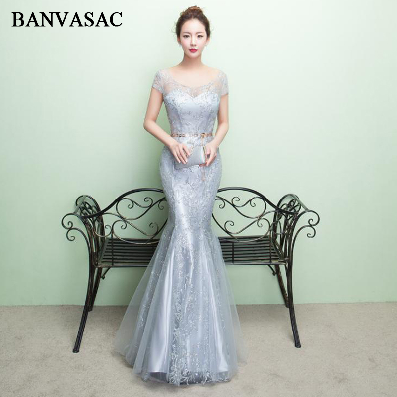 BANVASAC 2018 O Neck Sequined Embroidery Mermaid Long   Evening     Dresses   Lace Short Sleeve Leaf Sash Party Prom Gowns