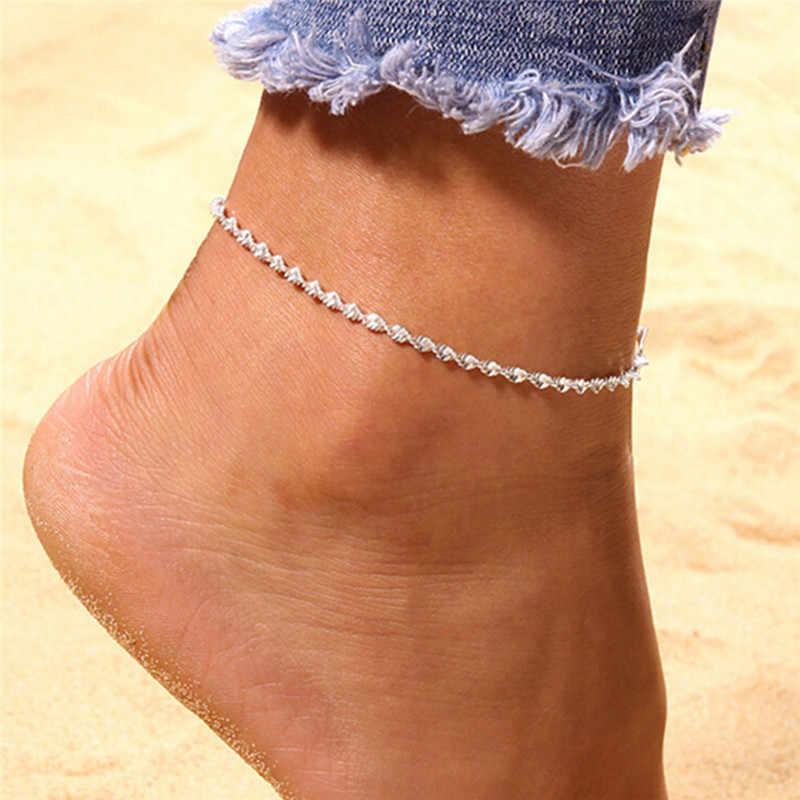 Moda takı Twisted Halhal Kadınlar Link Çene Bohemian Gümüş Renk Ayakkabı Çizme Zinciri Bilezik ayak takısı