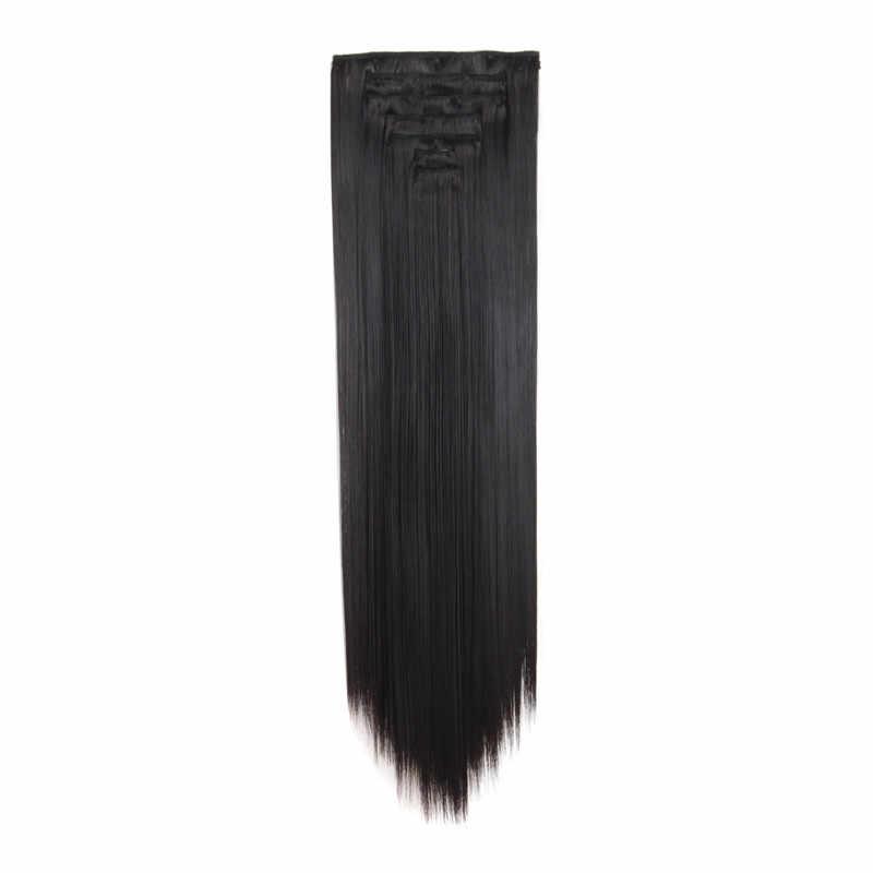 """MapofBeauty 7 шт 20 """"Длинные прямые серебряные черные коричневые розовые волосы для наращивания женщин синтетический шиньон на зажиме в одной части"""