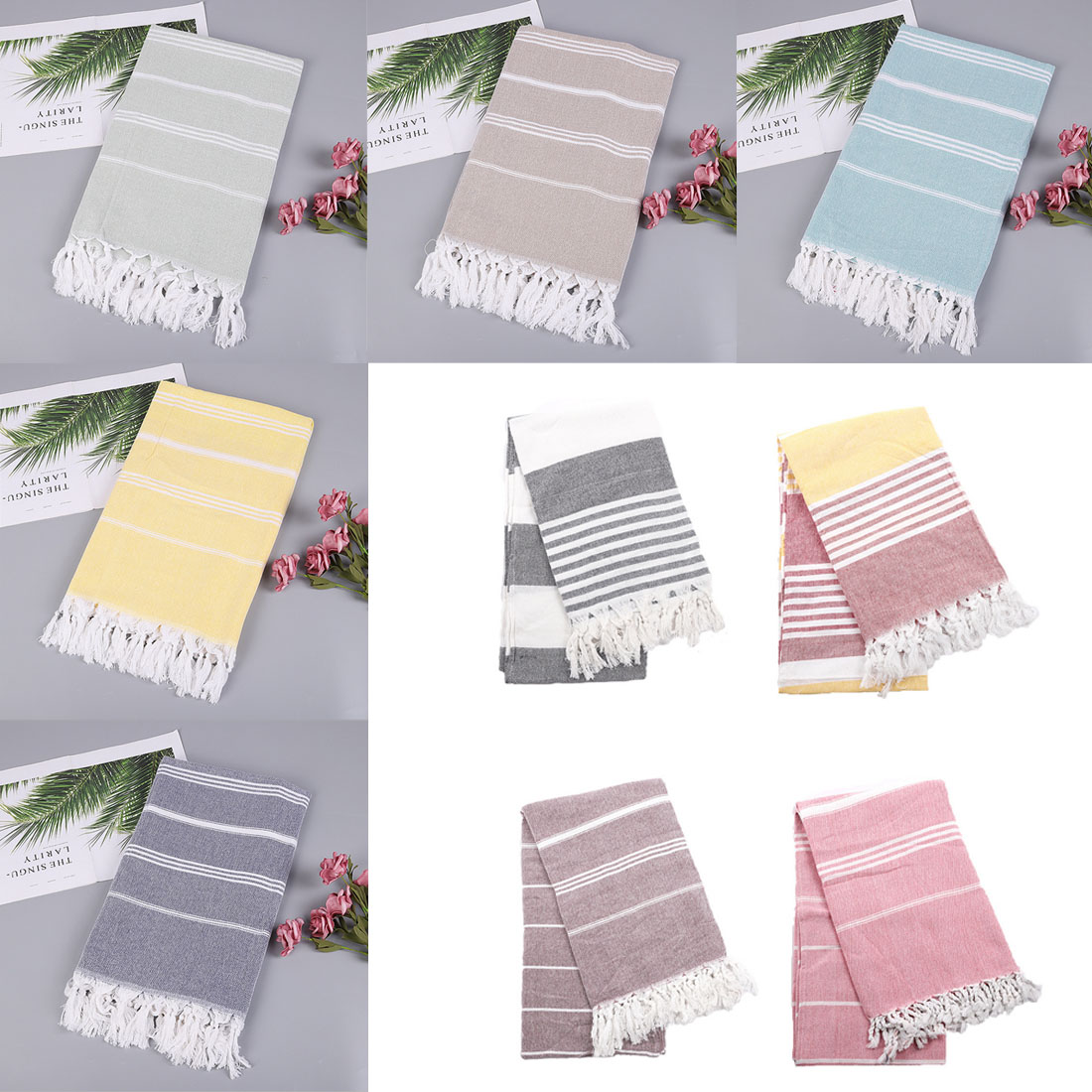 Turkish Beach Towels 24 Colors 100% Cotton Stripes Thin