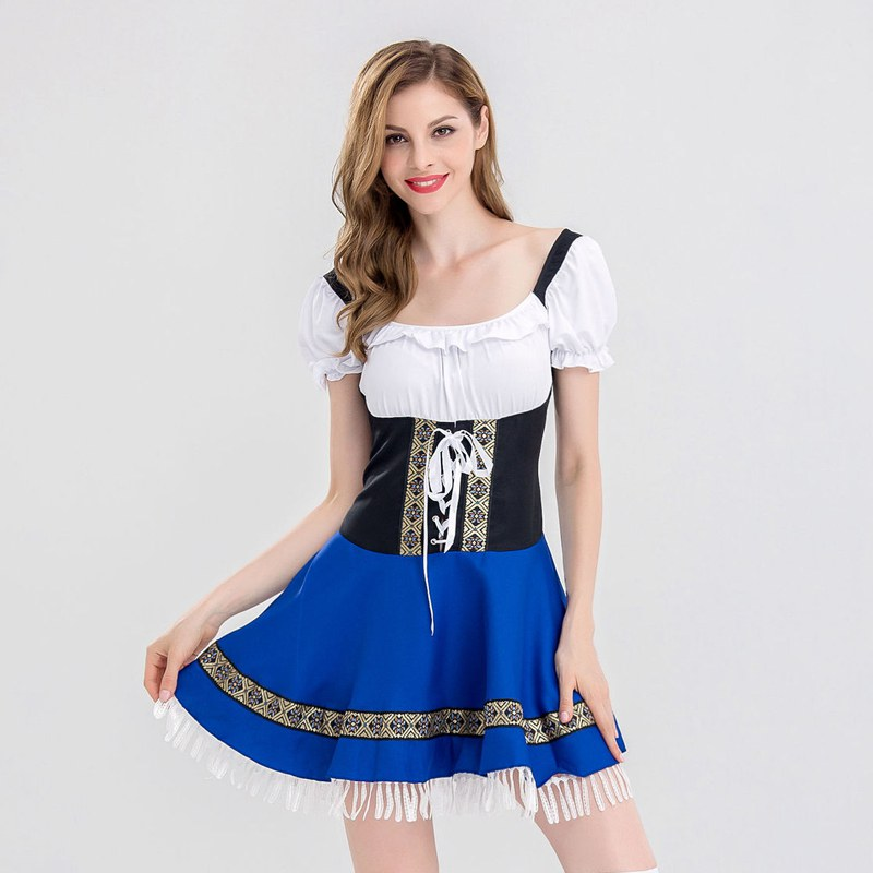 Women M-<font><b>3XL</b></font> Oktoberfest Costumes Beer Maid Authentic Festive Party Club Role Playing suit Halloween Game Bavarian Dirndl <font><b>Dress</b></font> image